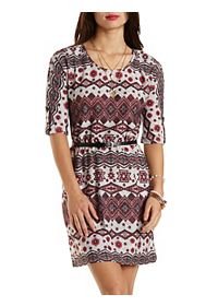 Sweater Knit Tribal Print Belted Dress