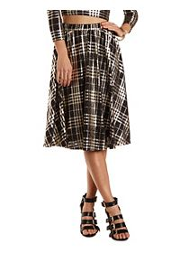 Metallic Plaid Full Midi Skirt