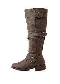 Bamboo Belt-Wrapped Knee-High Boots