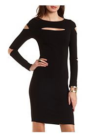 Bodycon Midi Dress with Cut-Outs