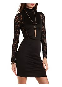 Turtleneck Dress with Lace Sleeves