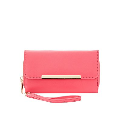 Silver-Tipped Double-Zipper Wristlet Wallet