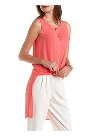 Sleeveless Button-Up High-Low Top