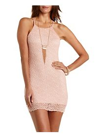 Racer Front Bodycon Lace Dress