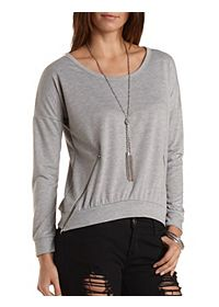 Slouchy Zipper-Trim Sweatshirt
