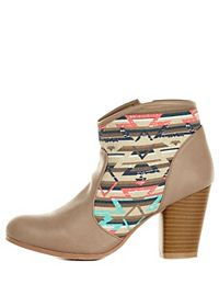 Qupid Aztec Canvas Chunky Heel Booties