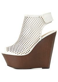 Bamboo Perforated Peep Toe Platform Wedges