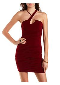 Crossover Ruched Bodycon Dress