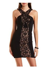 Crossover Bodycon Lace Dress