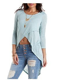 Sweater Knit Extreme High-Low Tee
