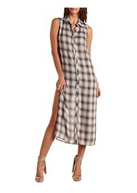 Plaid Button-Up Maxi Shirt Dress