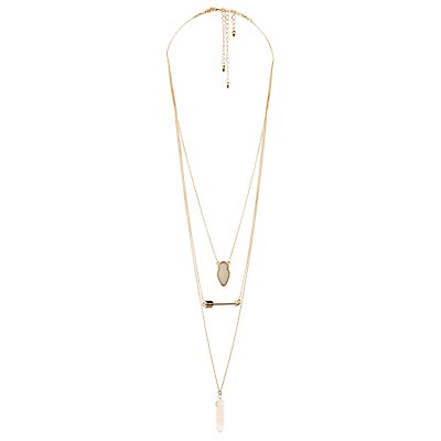 Quartz & Arrow Layering Necklaces - 3 Pack