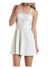 Embroidered Lace Yoke Skater Dress