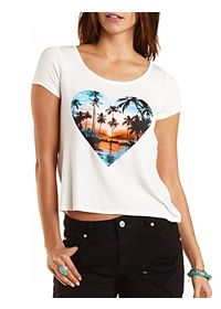 Palm Tree Graphic High-Low Tee