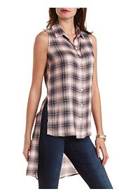 Sleeveless Button-Up Plaid Top