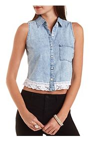 Lace-Trim Acid Wash Chambray Top
