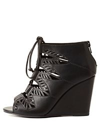 Laser Cut-Out Lace-Up Wedges