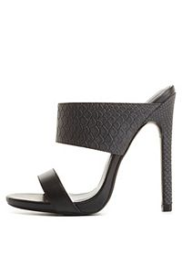 Strappy Snake-Textured Mule Sandals