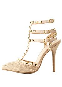 Studded Rhinestone Strappy Pumps