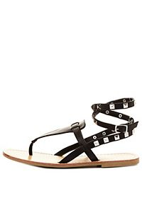Studded Thong Gladiator Sandals