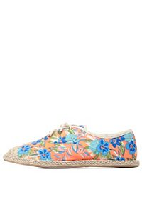 Printed Lace-Up Espadrille Flats
