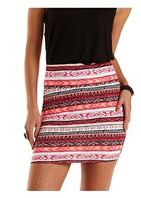Neon Tribal Bodycon Mini Skirt