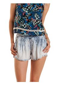 High-Waisted Acid Wash Chambray Shorts