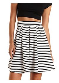 Striped & Pleated Skater Skirt