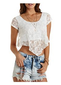 Cap Sleeve Lace Swing Crop Top