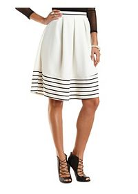 Striped Hem Pleated Midi Skirt