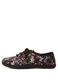 Lace-Up Floral Canvas Sneakers