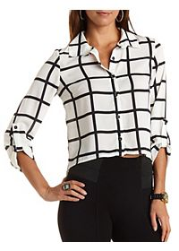 Cropped Square Print Button-Up Top