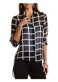 Sheer Patterned High-Low Button-Up Shirt