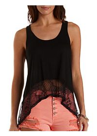 Lace-Trim High-Low Tank Top