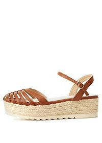 Qupid Strappy D'Orsay Flatform Sandals