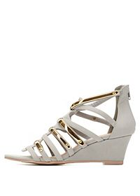 Qupid Strappy Wedge Sandals