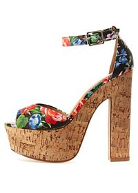 Cork & Floral Chunky Heel Sandals