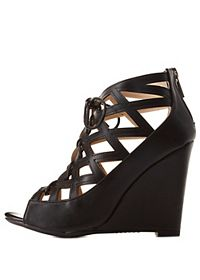 Bamboo Caged Cut-Out Lace-Up Wedges