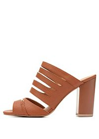 Qupid Strappy Block Heel Sandals