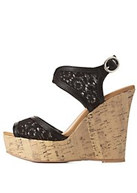 Lace Platform Wedge Sandals