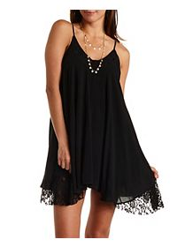 Lace Trim Trapeze Dress