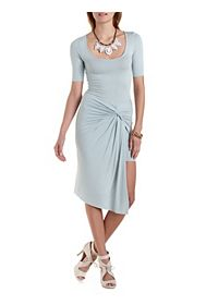 Ruched & Knotted Asymmetrical Dress