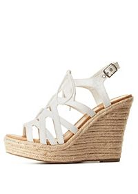 Strappy Lace-Up Wedge Sandals