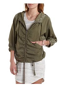 Drawstring Hooded Jacket with Pockets
