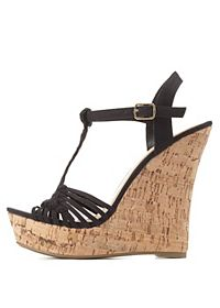 Basket-Woven T-Strap Wedge Sandals