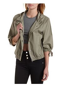 Hooded Dolman Sleeve Anorak Jacket