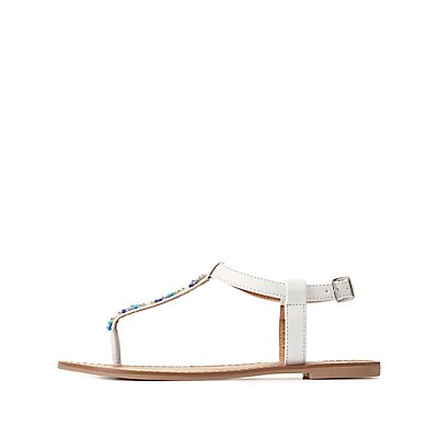 Beaded T-Strap Thong Sandals