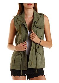 Drawstring Cotton Utility Vest