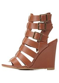 Bamboo Buckled Gladiator Wedges