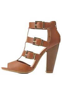 Bamboo Buckled T-Strap Chunky Heels